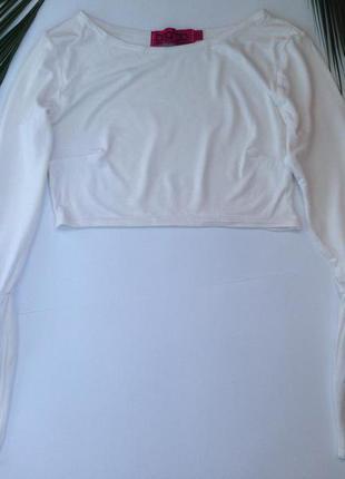 Крутая белая укороченная кофта/топ с длинными рукавами boohoo