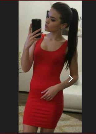 """Платье - майка """"jersey"""", р.42-44, цвет - ярко-красный"""