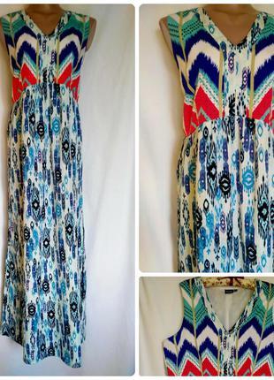 Шикарное платье макси с принтом орнаментом свободного кроя размер 48-52