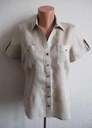 Льняная рубашка в стиле сафари из 100% льна с коротким рукавом
