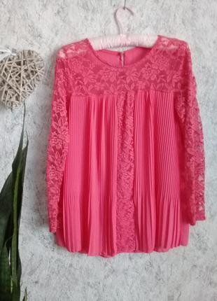 Мега красивая блуза кружево коралового цвета от итальянской pronto moda