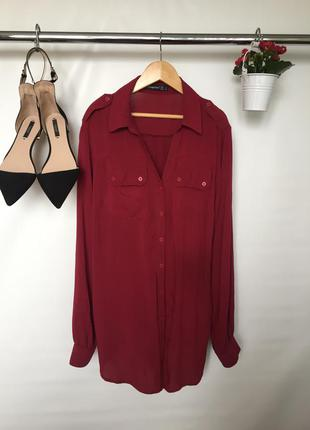 Актуальная трикотажная рубашка блузка на пуговицах с длинным рукавом