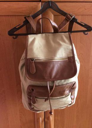 Стильный коттоновый фирменный рюкзак с кожаными -кож зам вставками