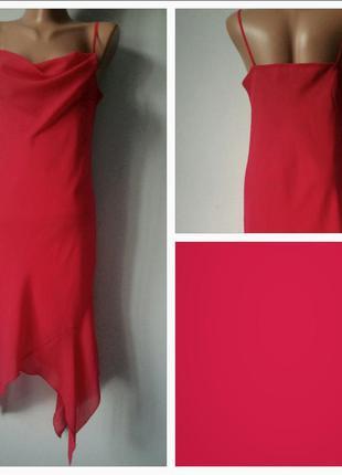 Коктейльное/выпускное шифоновое платье с асимметричным подолом