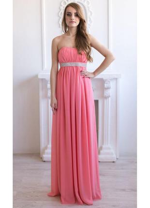Персиковое выпускное платье, нарядное длинное платье, платье макси,  вечернее платье
