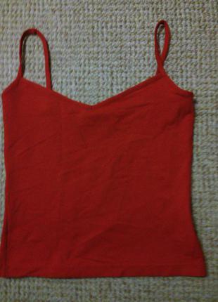 Красная майка на лямках,36 размер