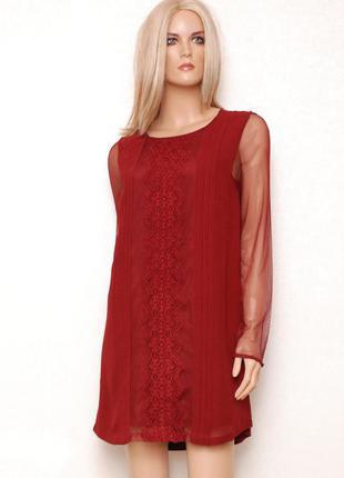 Платье цвета бургунди прямого кроя с рукавами из сеточки f&f