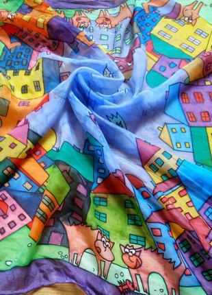 Шелковый платок 100% шелк ( мультяшные зверушки в городе)