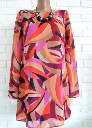 Красивая удлиненна блуза туника f&f uk16 большой размер в идеальном состоянии