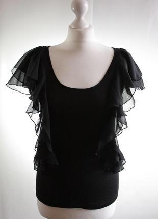 Романтическая блуза футболка майка с воланами рюшами от h&m, размер m/38/10