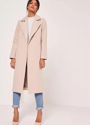 Невероятное пальто без застежек цвета camel