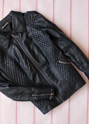 Крутая кожаная куртка \ экокожа \ стеганая