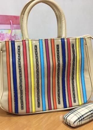Лаковая сумка 72435 бежевая и голубая