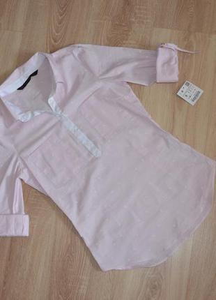 Нежно розовая рубашка zara в полоску размера s