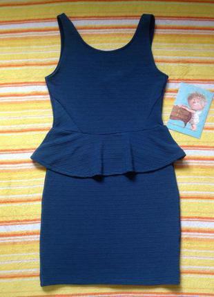 Фактурное платье с баской m