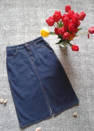 Джинсовая юбка сигарета средней плотности, стрейчевая размер 14