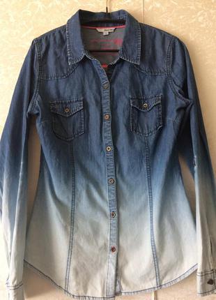 Джинсовая рубашка с градиентом tally weill, р. 38