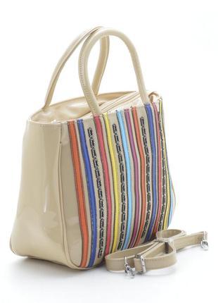 Лаковая сумка 72435 бежевая