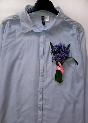 Легкая голубая рубашка оверсайз от h&m l-размера