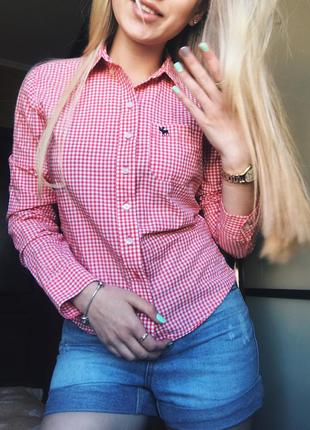 Красная рубашка в клетку hollister abercrombie fitch