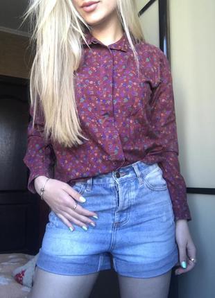 Бордовая рубашка в цветочек плотный котон