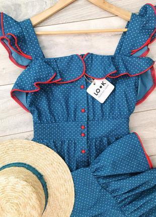 Очень женственное платье миди в горошек с контрастными воланами! джинс котон