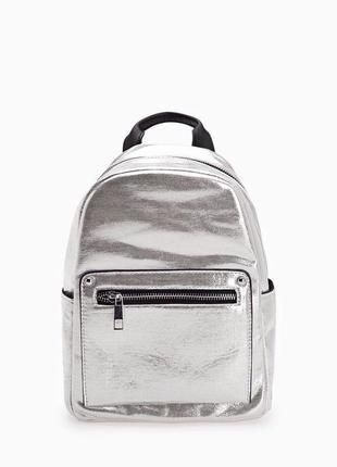 Модный серебристый рюкзак stradivarius new 2017