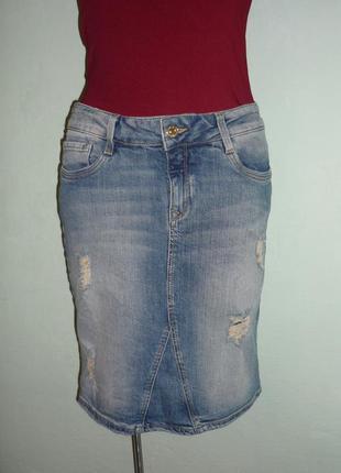 Скидки!! -50% рваная джинсовая юбка mavi p.s-м