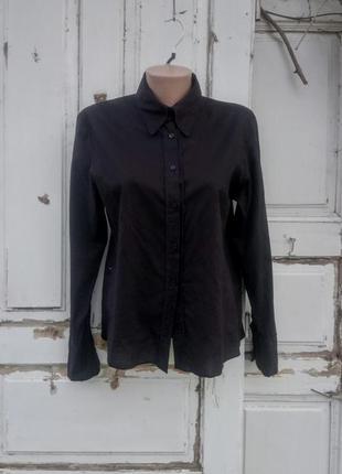 Классическая черная хлопковая рубашка gina benotti