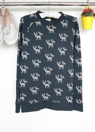Актуальная котоновая кофта свитер свитшот в принт с длинным рукавом