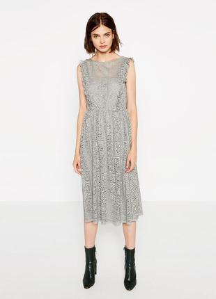 Кружевное платье миди от zara