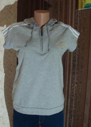 Спортивная демисезонная футболка, футболка адидас серая, кофта с коротким рукавом