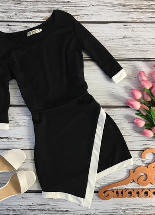 Актуальное демисезонное платье с рукавом 3/4 и асимметричной юбкой    dr1739