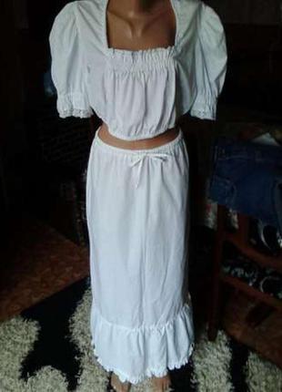 Шикарный костюм летний коттон италия топ юбка