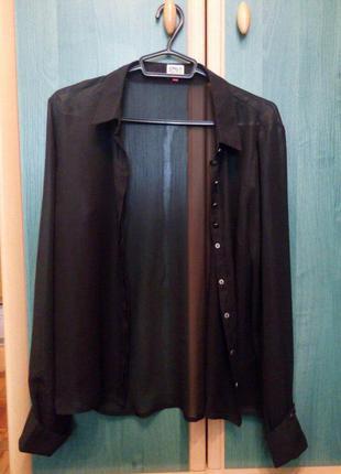 Черная шифоновая прозрачная рубашка