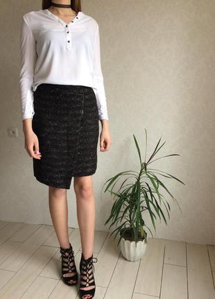 Стильная твидовая асимметричная юбка с завышенной талией на молнии