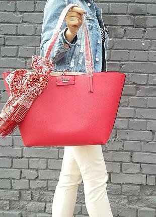 Красная двойная сумка-шоппер guess. оригинал из сша!