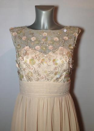 Шикарное длинное бежевое платье в пол выпускное пудровое с камнями