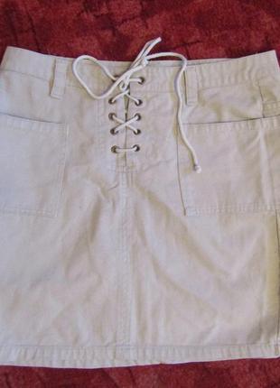 Хлопковая юбка пудрового цвета на шнуровке 44-46 в идеальном состоянии от ladies.