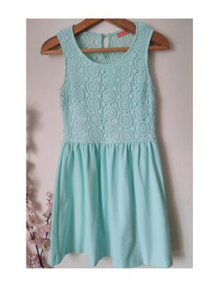 Бирюзовое платье с кружевом ostin