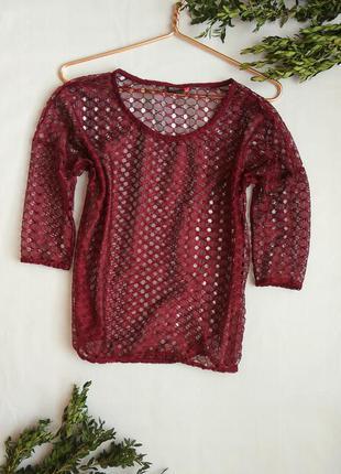 Блуза от only бордо марсала сетка кружево