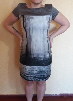 Платье с принтом oodji