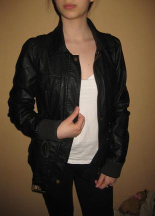 165 рост, кожаная куртка с поясом only