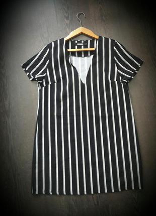 Свободное платье футболка трапеция с v образным вырезом и полоску от missguided