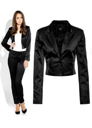 Пиджак атласный, черный жакет.