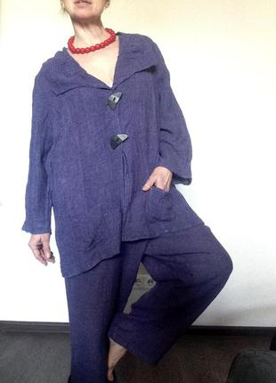 Летний брючный льняной костюм оверсайз лавандового цвета