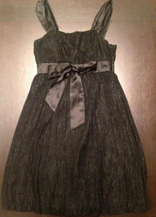Платье naf-naf черное нарядное вечернее. шелк,  36 р., s.