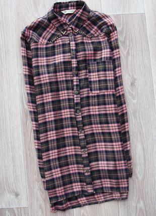 Трендовое платье-рубашка в клетку пудра хаки miss selfridge