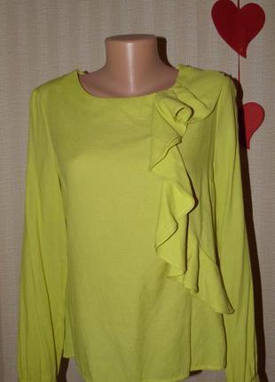 Модная блуза лимонно-горчичного цвета, р.12-14