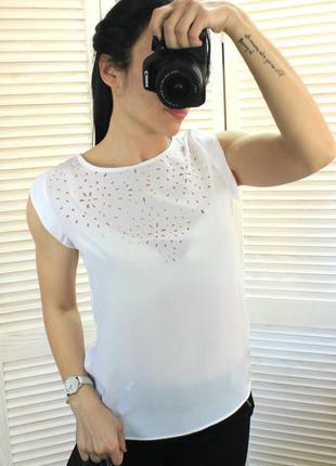 Блуза с шифоновым передом белая